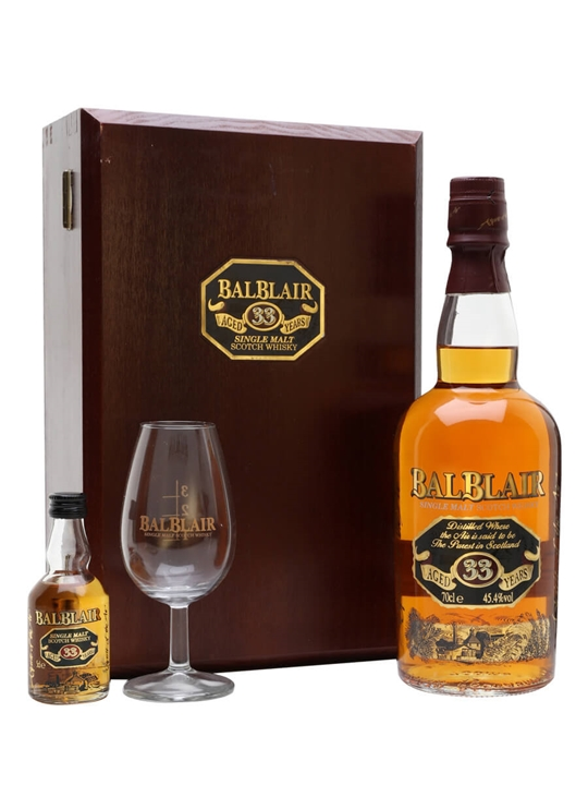 Balblair 33 Year Old Gift Set / Nosing Glass + Miniature Highland Whisky