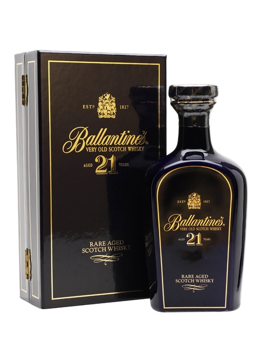 Ballantine's 21 Year Old / Blue Ceramic / Half Litre Blended Whisky