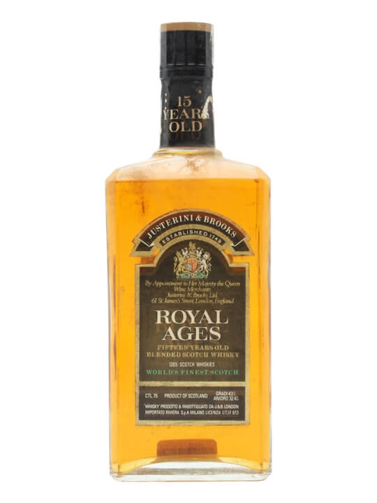 J & B Royal Ages 15 Year Old / Bot.1970s / Flat Bottle Blended Whisky