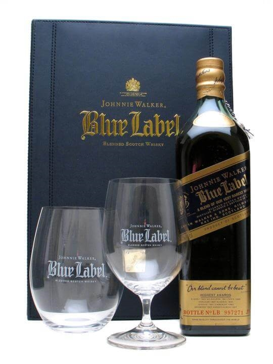 Johnnie Walker Blue Label Gift Pack / 2 Glasses Blended Scotch Whisky