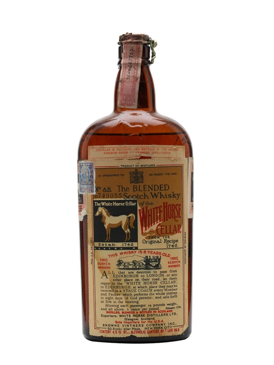 White Horse 8 Year Old / Bot.1930s / Spring Cap Blended Scotch Whisky