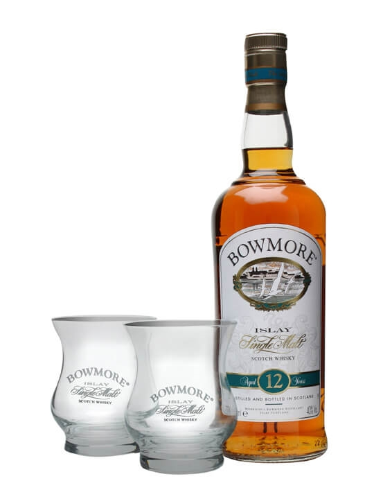 Bowmore 12 Year Old + 2 Glasses Islay Single Malt Scotch Whisky