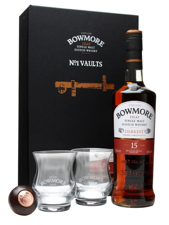 Bowmore 15 Year Old Darkest / 2 Glass & Stopper Set Islay Whisky