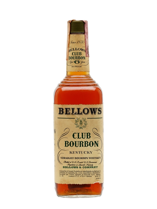 Bellows Club Bourbon / Bot.1970s Kentucky Straight Bourbon Whiskey