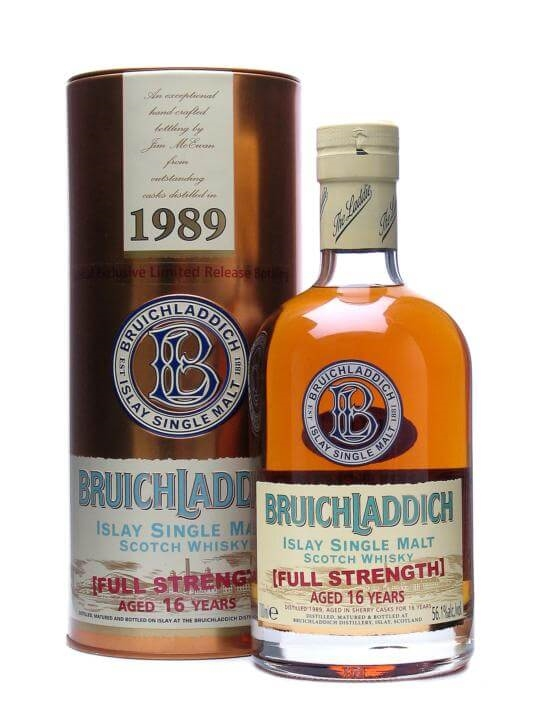 Bruichladdich 1989 Full Strength / 16 Year Old / Sherry Wood Islay Whisky