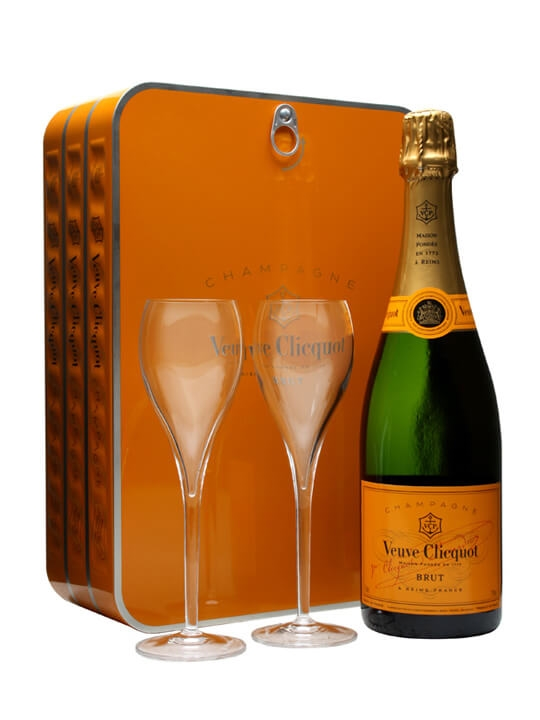 Veuve Clicquot Yellow Label & 2 Glasses Sardine Tin