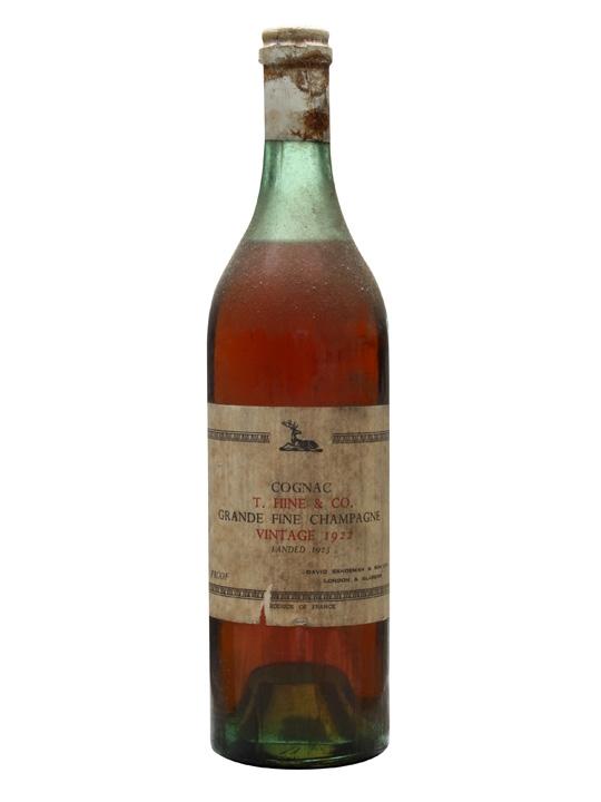 Hine 1922 Cognac / Landed 1923 / David Sandeman & Sons