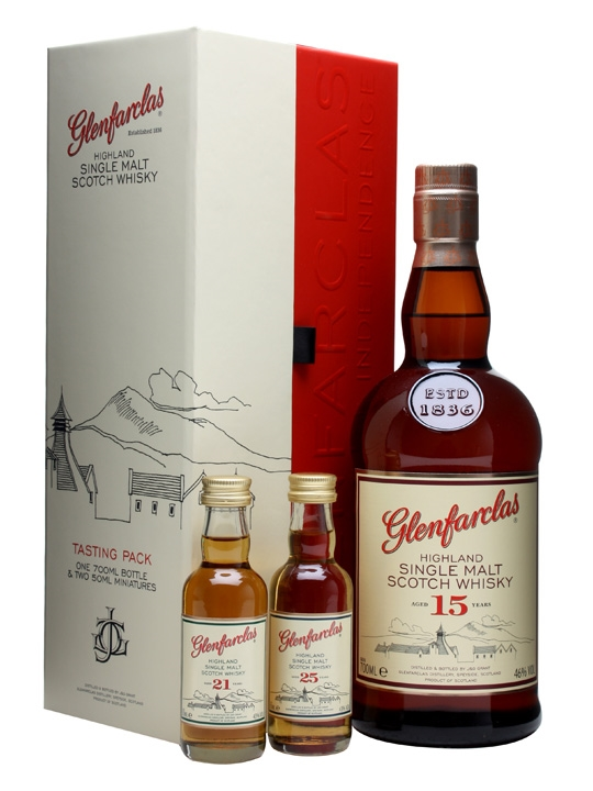 Glenfarclas 15 Year Old + 21 Year Old & 25 Year Old Miniatures Speyside Whisky