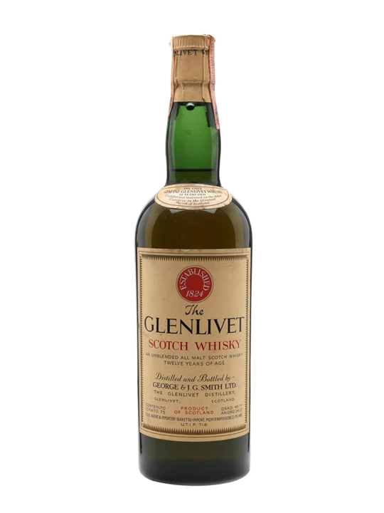 Glenlivet 12 Year Old / Bot.1960s / Green Glass Speyside Whisky