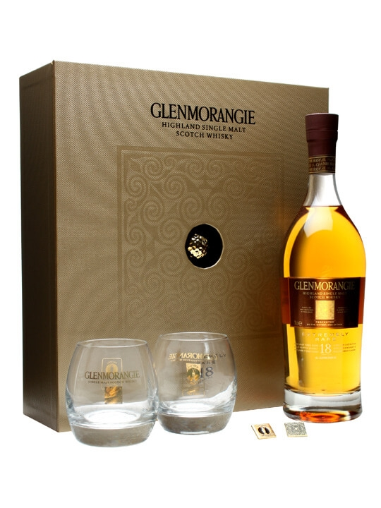Glenmorangie 18 Year Old Golf Gift Set with 2 Glasses Highland Whisky