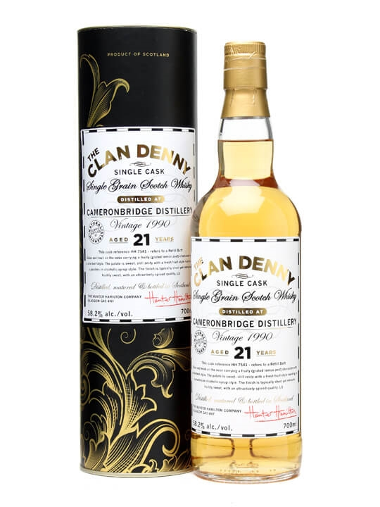 Cameronbridge 1990 / 21 Year Old / Clan Denny Single Whisky