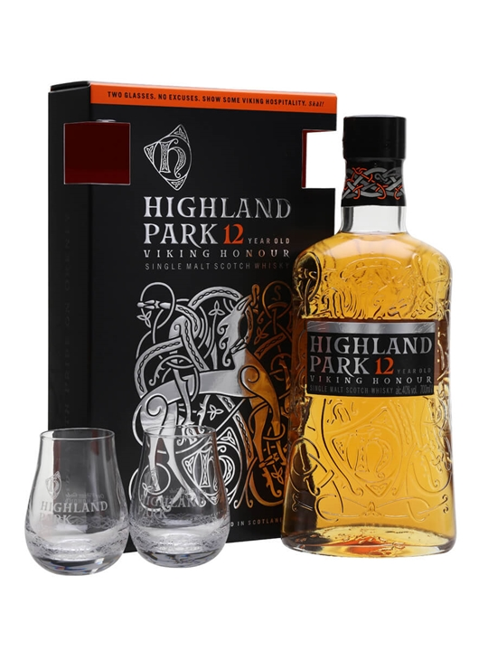 Highland Park 12 Year Old / 2 Glass Pack Island Whisky