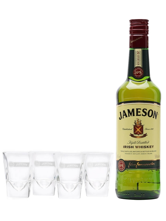 The Jameson Coffee Shot / Coffee + 4 Glass Pack Blended Irish Whiskey