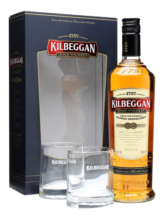 Kilbeggan + 2 Glasses Gift Pack Irish Blended Whiskey