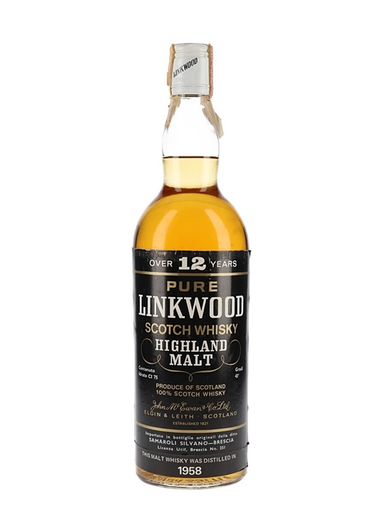 Linkwood 1958 / 12 Year Old Speyside Single Malt Scotch Whisky