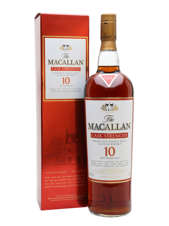 Macallan 10 Year Old Cask Strength Speyside Single Malt Scotch Whisky