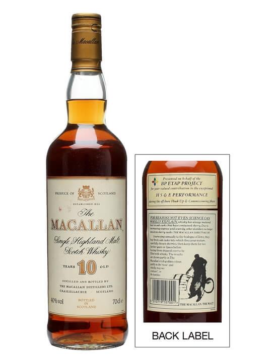 Macallan 10 Year Old / Bp Label Speyside Single Malt Scotch Whisky