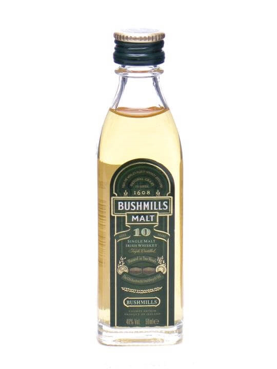Bushmills 10 Year Old Mini Miniature Irish Single Malt Whiskey