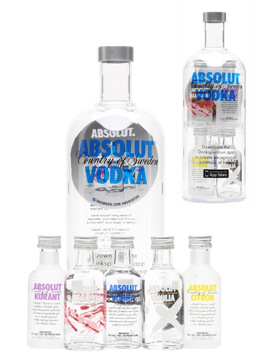 Absolut Naturals Swedish Vodka Miniatures Gift Pack (5x5cl)
