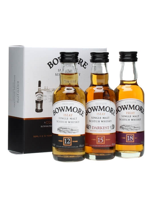 Bowmore Miniature Giftset / 12 Year Old, 15 Year Old, 18 Year Old Islay Whisky