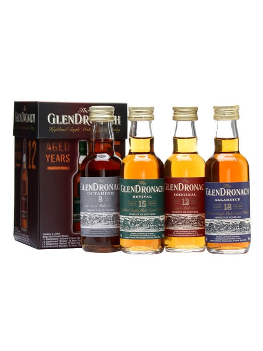 Glendronach Mini Pack / 8, 12, 15 & 18 Year Olds / 4x5cl Speyside Whisky