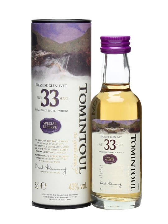 Tomintoul 33 Year Old Miniature Speyside Single Malt Scotch Whisky