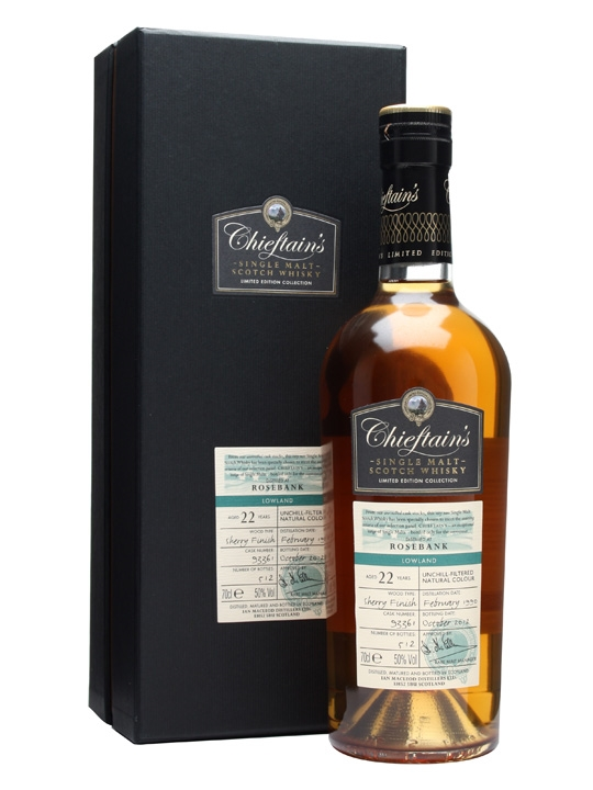 Rosebank 1990 / 22 Year Old / Sherry Finish / Chieftan's Lowland Whisky