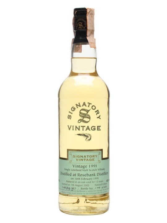 Rosebank 1991 / 12 Year Old / Cask #563 / Signatory Lowland Whisky