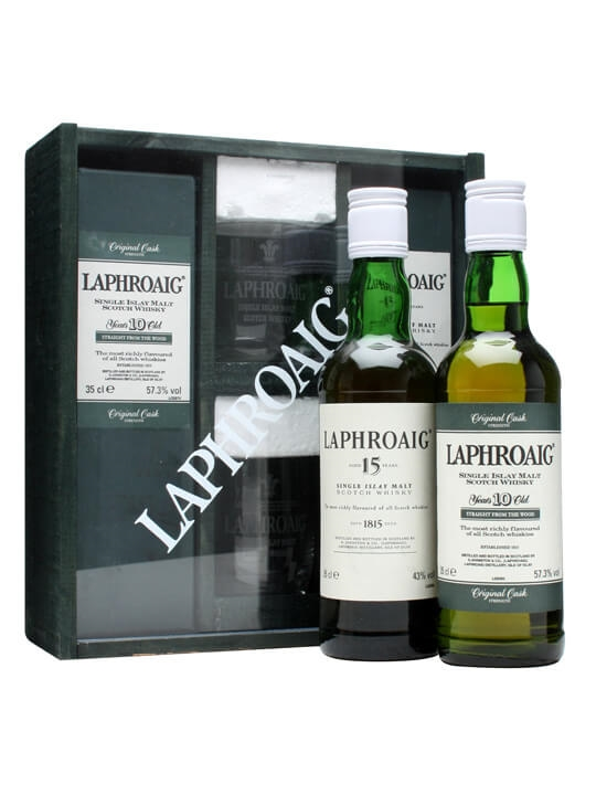 Laphroaig 10 Year Old Cask Strength + 15 Year Old Glass Set Islay Whisky
