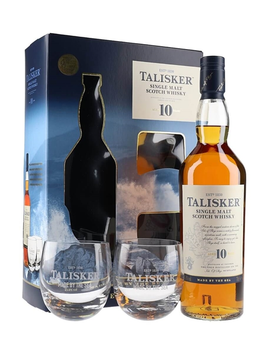 Talisker 10 Year Old / 2 Glass Pack Island Single Malt Scotch Whisky