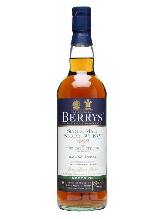 Tormore 1992 / 20 Year Old / Cask #100154 / Berry Bros Speyside Whisky