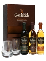 Glenfiddich Miniature 3 x 10cl + 2 Glasses
