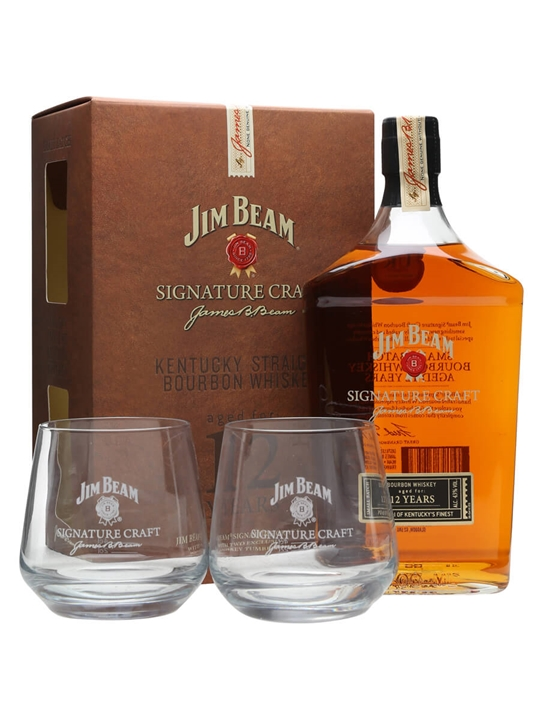 Jim beam signature craft 12 year old 2 glass pack the for Craft cocktail gift set