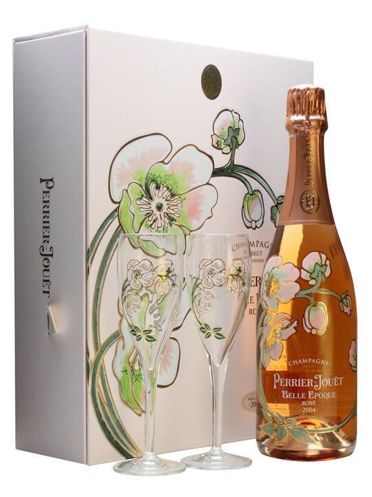 perrier jouet belle epoque 2004 champagne rose glass pack the whisky exchange. Black Bedroom Furniture Sets. Home Design Ideas