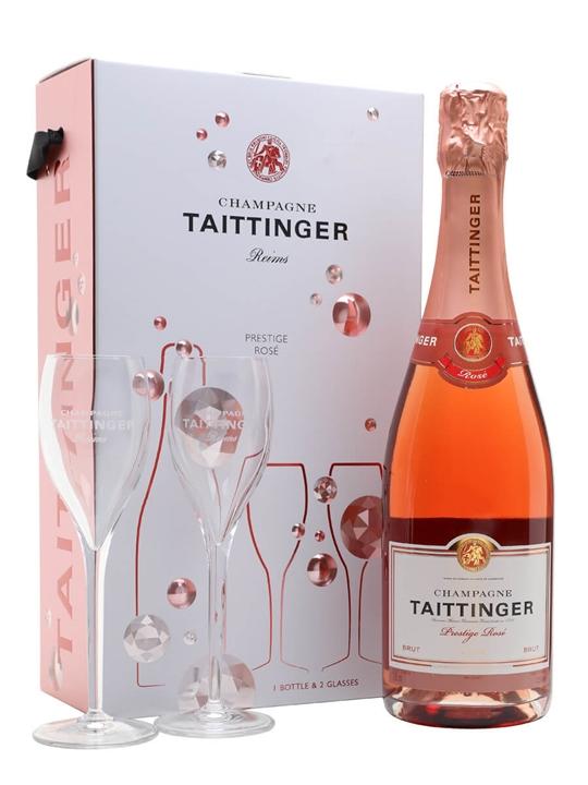 Taittinger Brut Prestige Rose Champagne / Glass Set