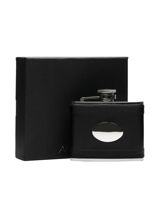 Black Lambskin Stainless Steel Flask & Engraving Plate/110ml