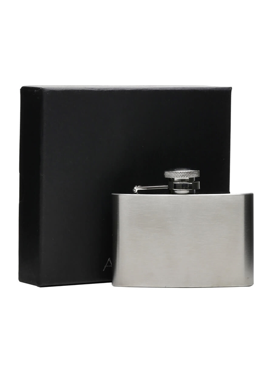 Brushed Stainless Steel Hip Flask / Satin Finish / 110ml