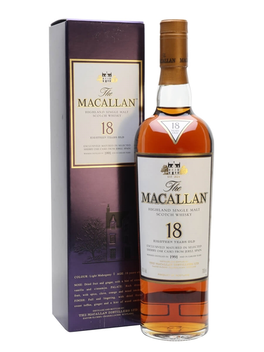 Macallan 1991 18 Year Old Sherry Oak Scotch Whisky