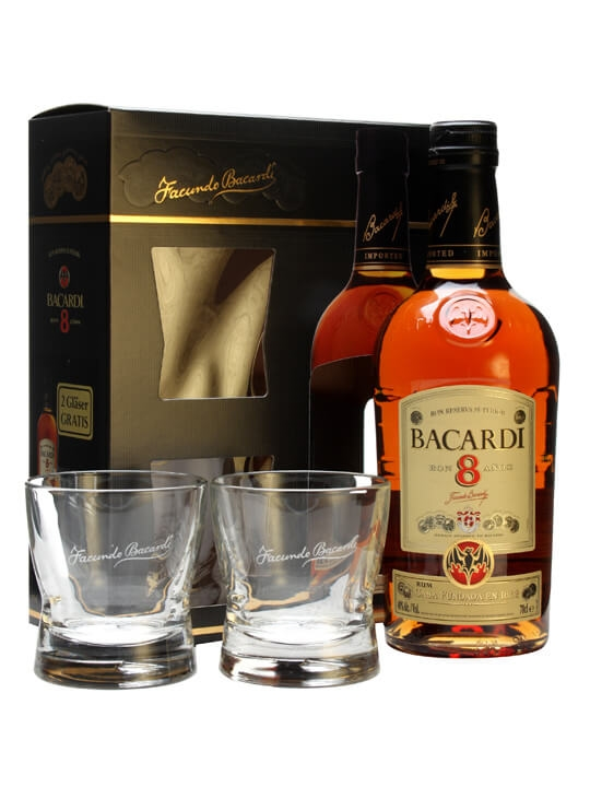 Bacardi 8 Year Old and 2 Glass Pack : The Whisky Exchange