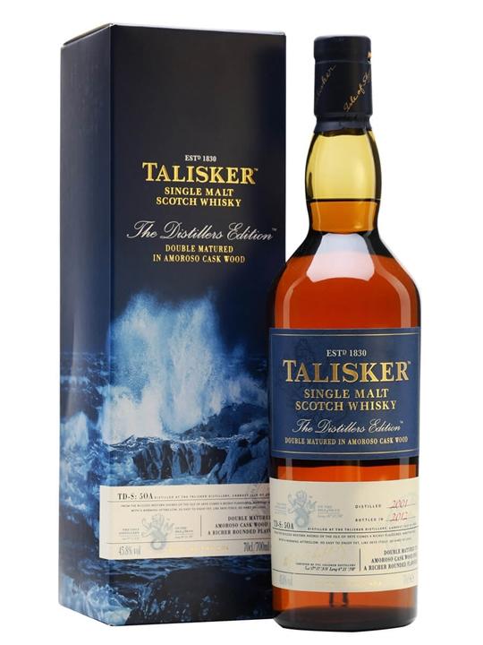 Talisker 12 year distillers edition single malt scotch.
