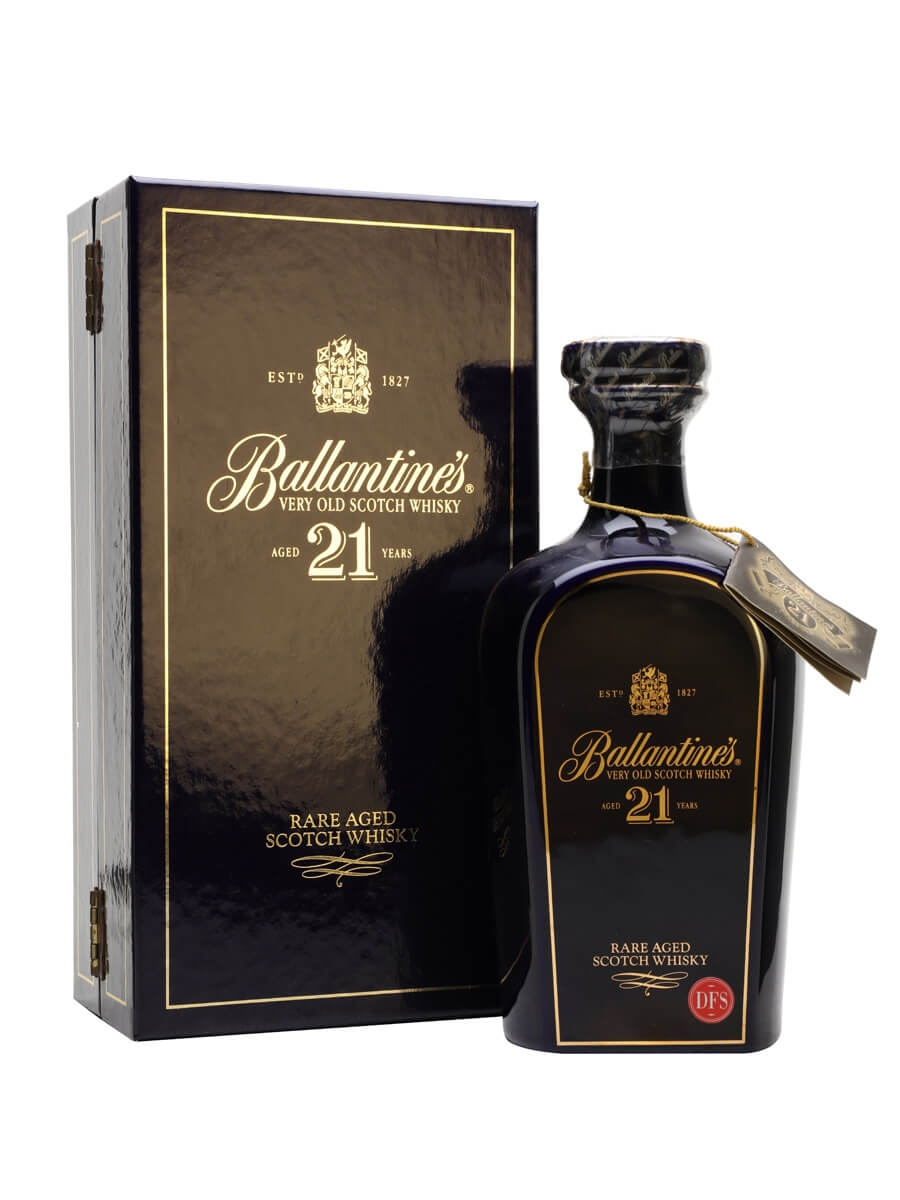 Ballantine's 21 Year Old / Blue Ceramic Decanter