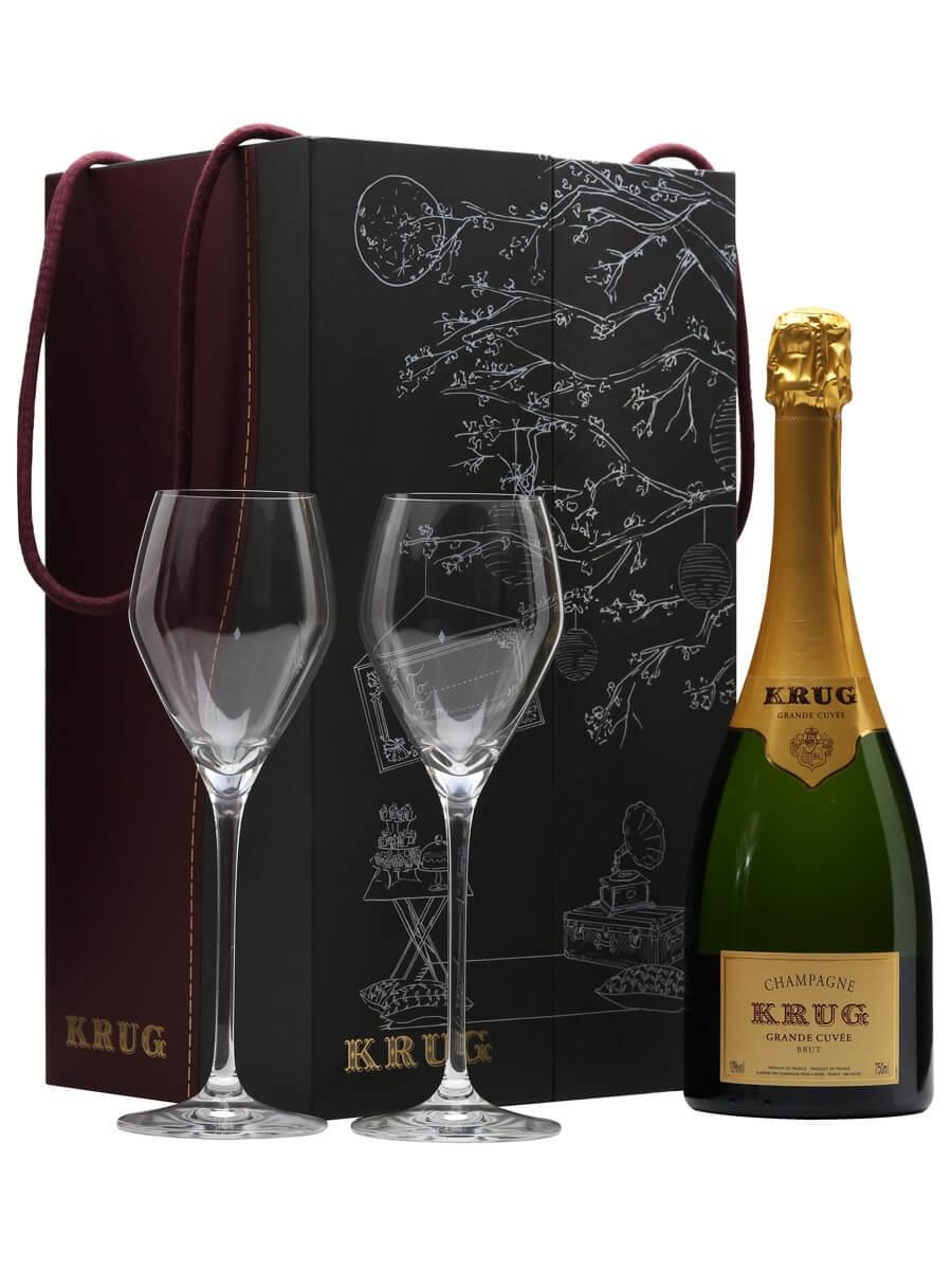 Krug Grande Cuvee Champagne & 2 Flutes Gift Pack