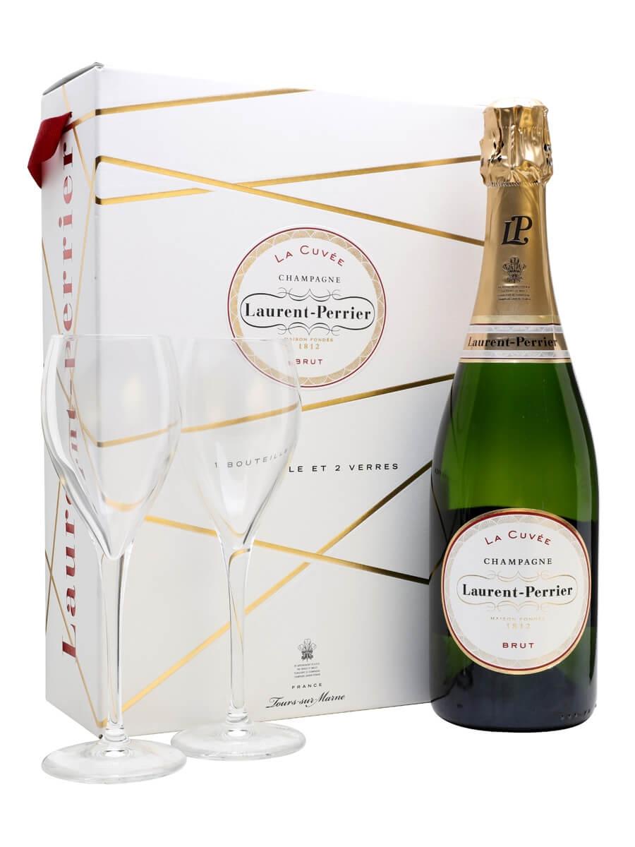 Laurent-Perrier La Cuvee Brut NV Champagne / 2 Glasses Gift Set