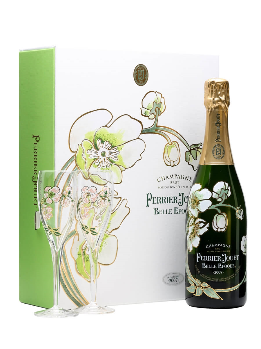 perrier jouet belle epoque 2007 champagne glass pack the whisky exchange. Black Bedroom Furniture Sets. Home Design Ideas
