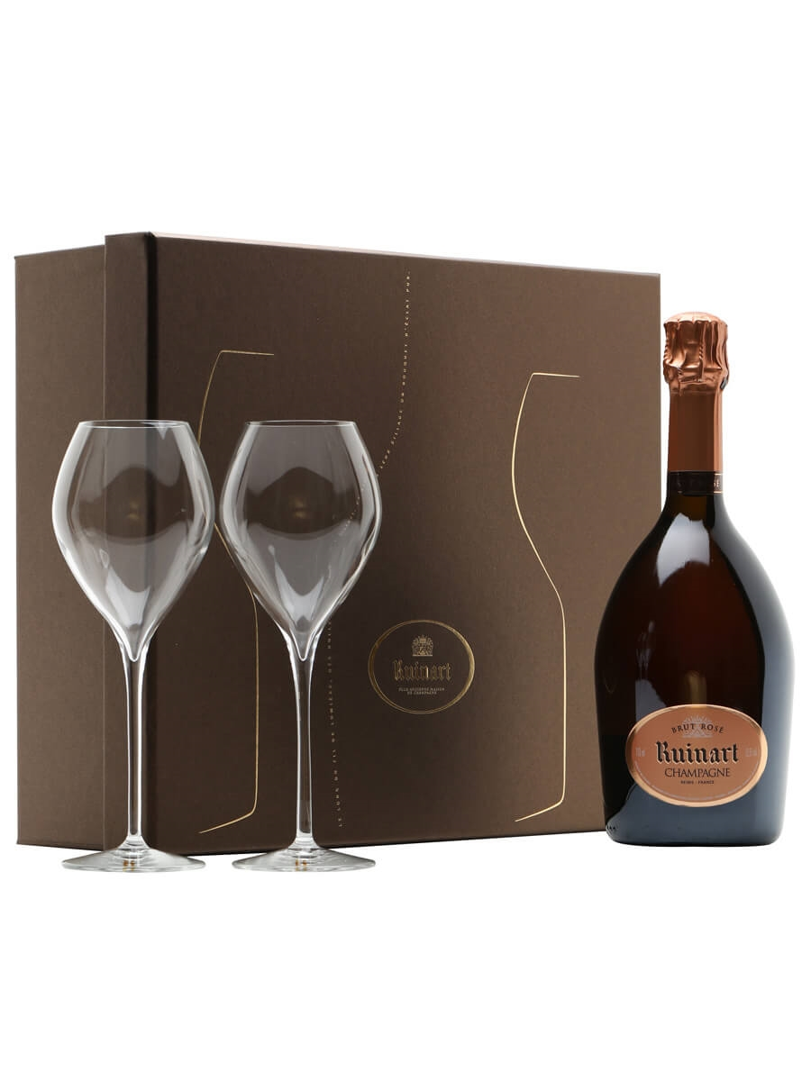 Ruinart Rose Champagne & 2 Flutes Gift Pack