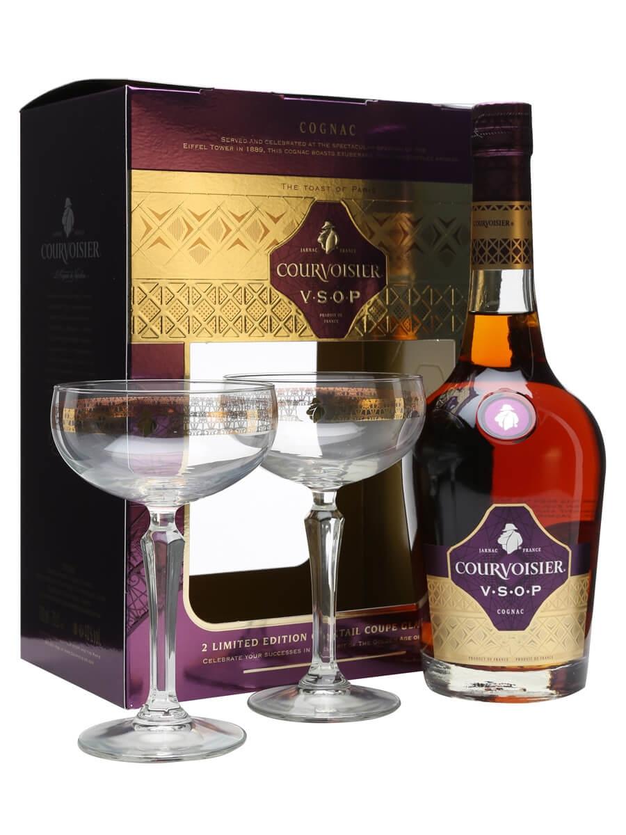 Courvoisier VSOP Cognac Gift Pack / 2 Coupe Glasses