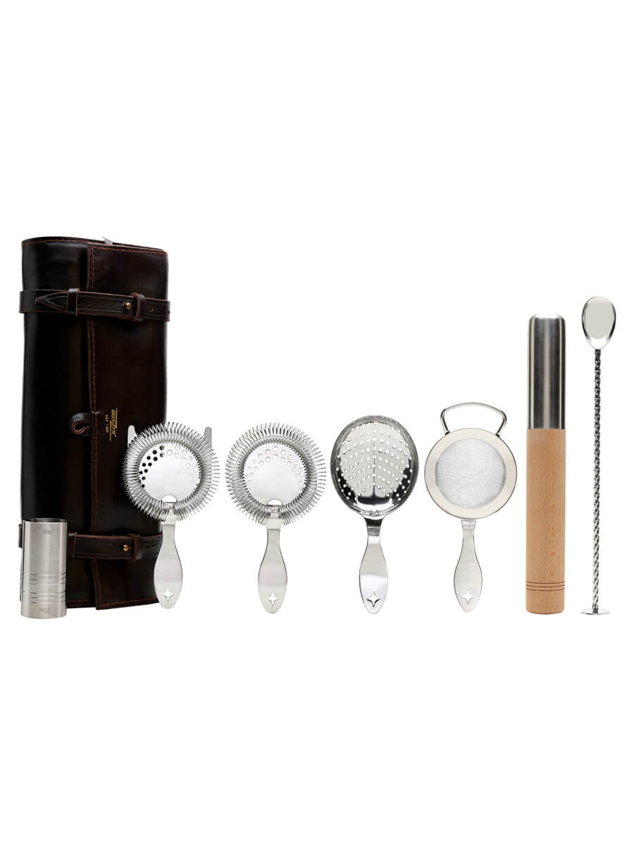 Bonzer Leather Roll Strainers & Muddler Set /Stainless Steel