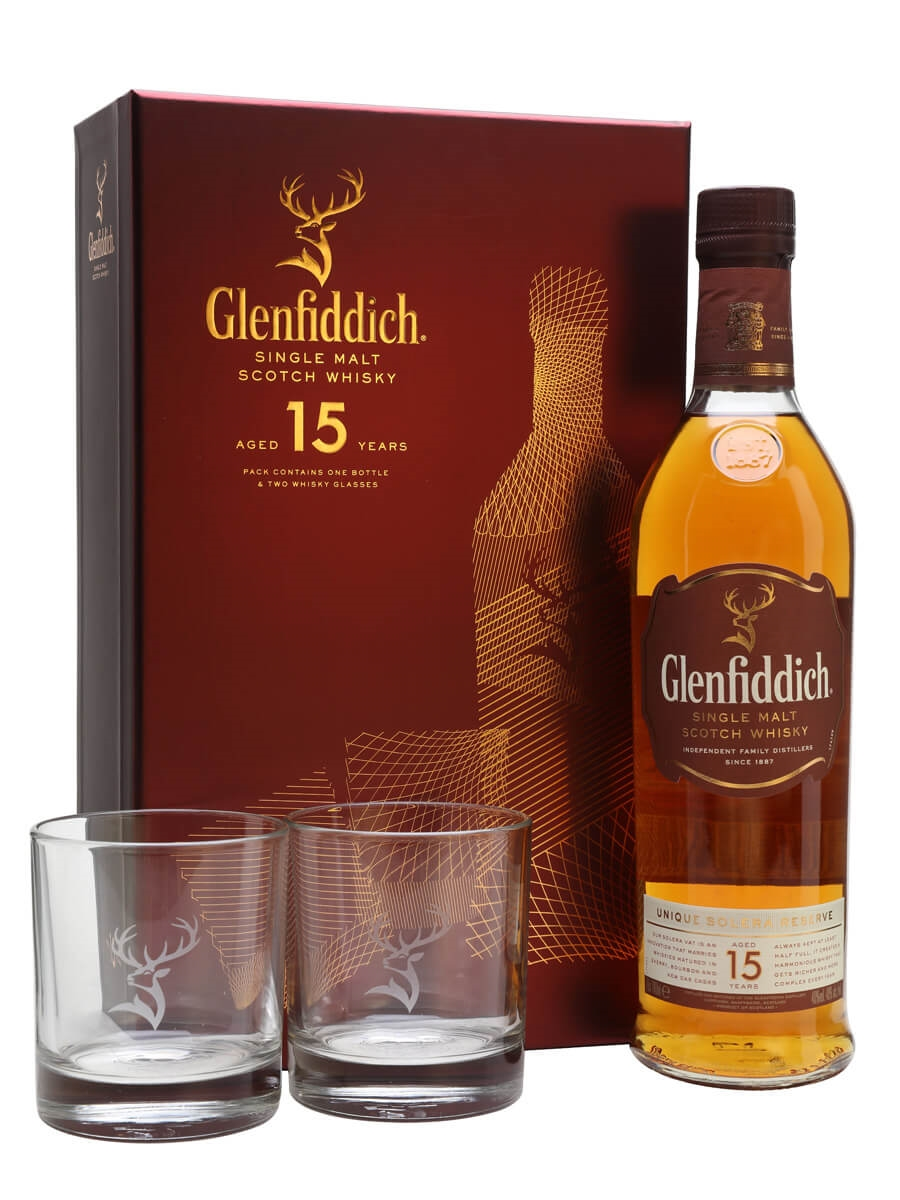 Glenfiddich 15 Year Old / 2 Glasses Gift Pack