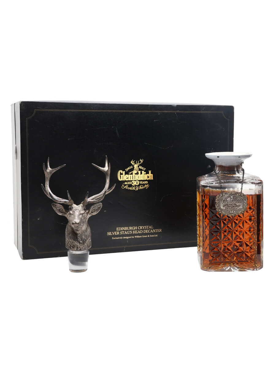 Glenfiddich 30 Year Old / Silver Stag Decanter / Bot.1980s