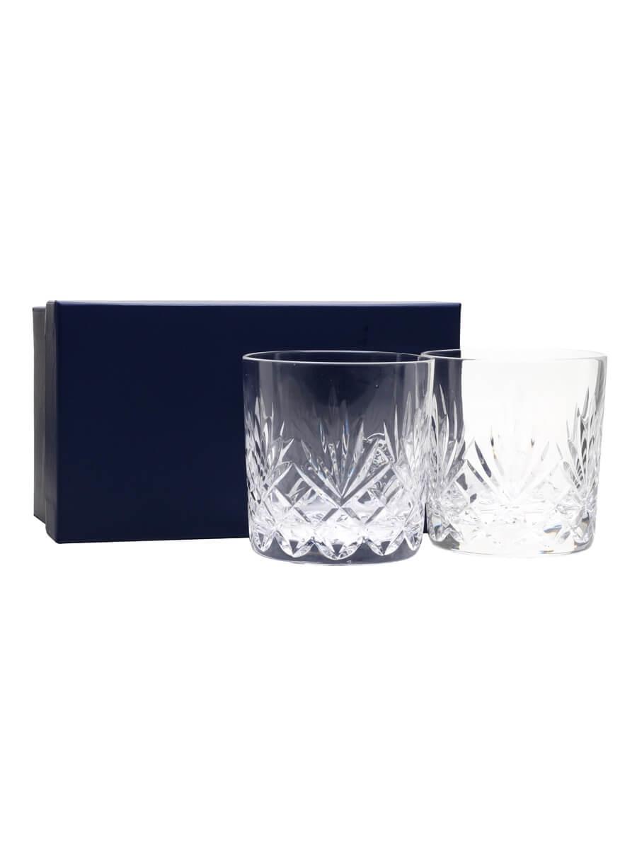 Two Glencairn Edinburgh Crystal Tumblers / Presentation Box
